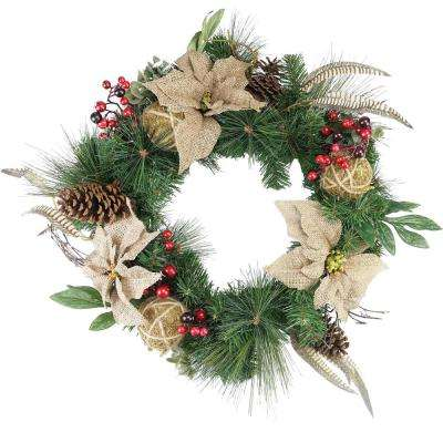 24 in. Unlit Autumn Harvest Burlap Poinsettia Moss Ball Mixed Pine and Berries Fall Wreath