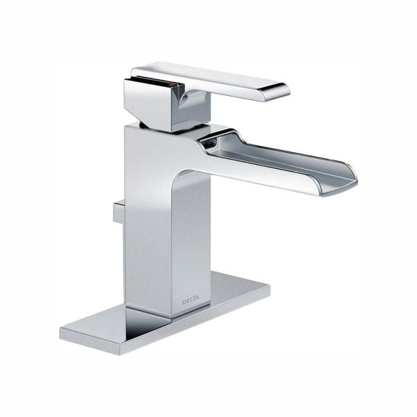 Delta Ara Single Hole Single Handle Open Channel Spout Bathroom Faucet With Metal Drain Assembly In Chrome 568lf Mpu The Home Depot