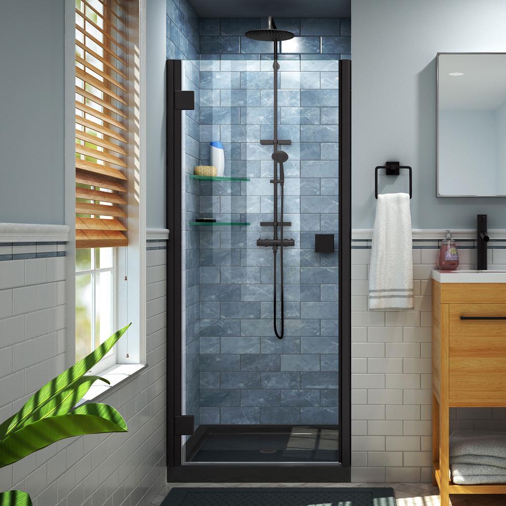 Lumen 42 in. x 72 in. Semi-Frameless Hinged Shower Door in Satin Black with 42 in. x 32 in. Base in Black