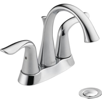 Lahara 4 in. Centerset 2-Handle Bathroom Faucet with Metal Drain Assembly in Chrome