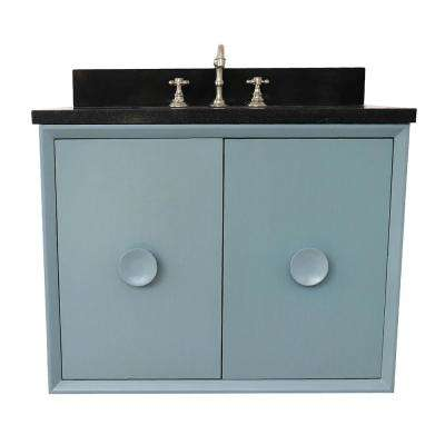 Stora 31 in. W x 22 in. Wall Mount Bath Vanity in Aqua Blue with Granite Vanity Top in Black with White Rectangle Basin