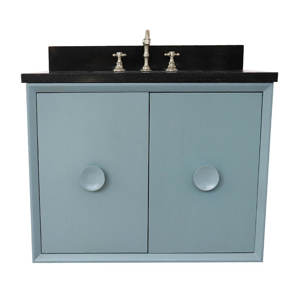 Wall Mount Bath Vanity In Aqua Blue