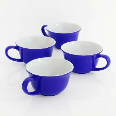 Tea Lover's 8 oz. Blue Exterior with White Interior Ceramic Mug (Set of 4)