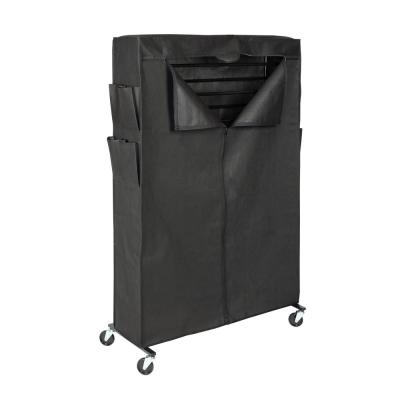59.5 in H x 36.5 in W 50-Pair Black Steel Rolling Shoe Rack and Polyester Shoe Rack Cover