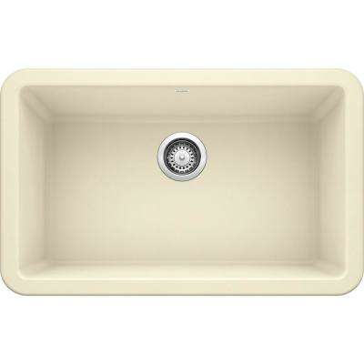 IKON Farmhouse Apron Front Granite Composite 30 in. Single Bowl Kitchen Sink in Biscuit
