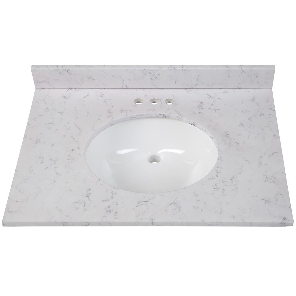 Home Decorators Collection 31 In W X 22 In D Stone Effects Vanity Top In Pulsar With White Sink