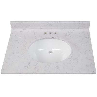 31 in. W x 22 in. D Stone Effects Vanity Top in Pulsar with White Sink