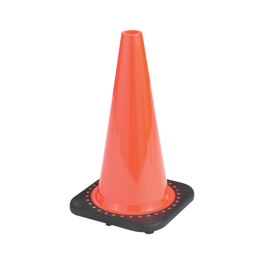 18 in. Orange PVC Non Reflective Traffic Safety Cone