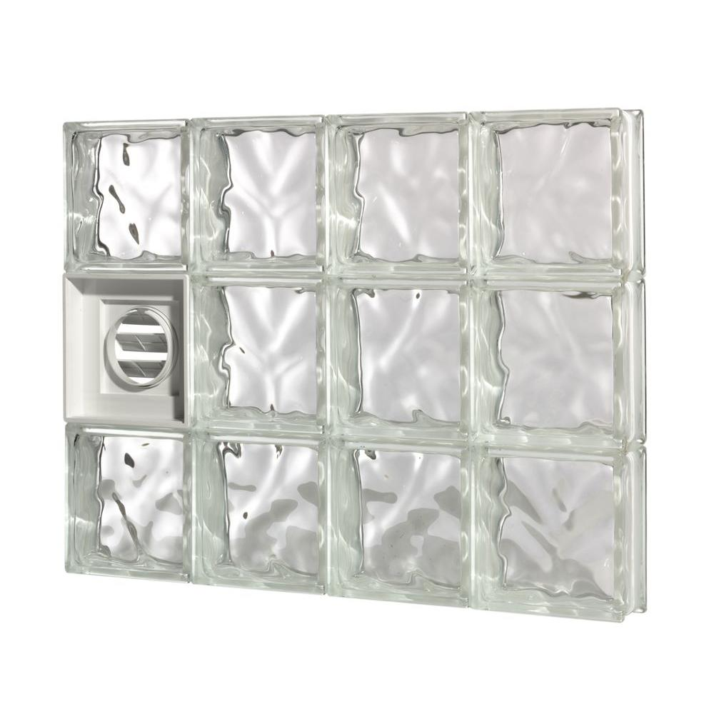 Pittsburgh Corning 25 in. x 37.5 in. x 3 in. GuardWise Dryer-Vented Decora Pattern Glass Block Window
