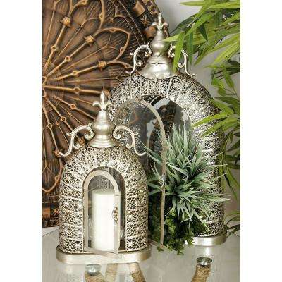 Vintage Silver Metal and Glass Candle Lanterns (Set of 2)