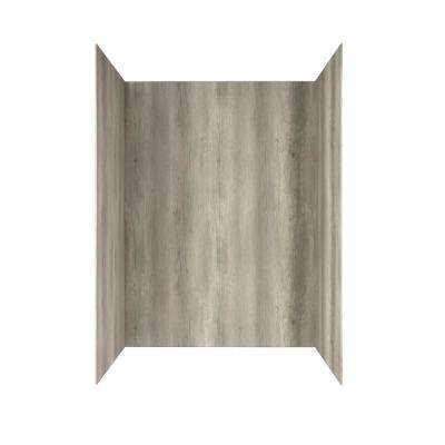 Passage 32 in. x 60 in. 4-Piece Glue-Up Alcove Bath Wall in Gray Timber
