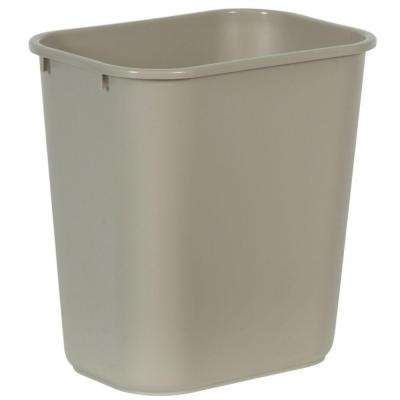7 Gal. Beige Rectangular Trash Can