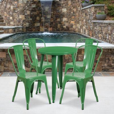 Green 5-Piece Metal Round Outdoor Bistro Set