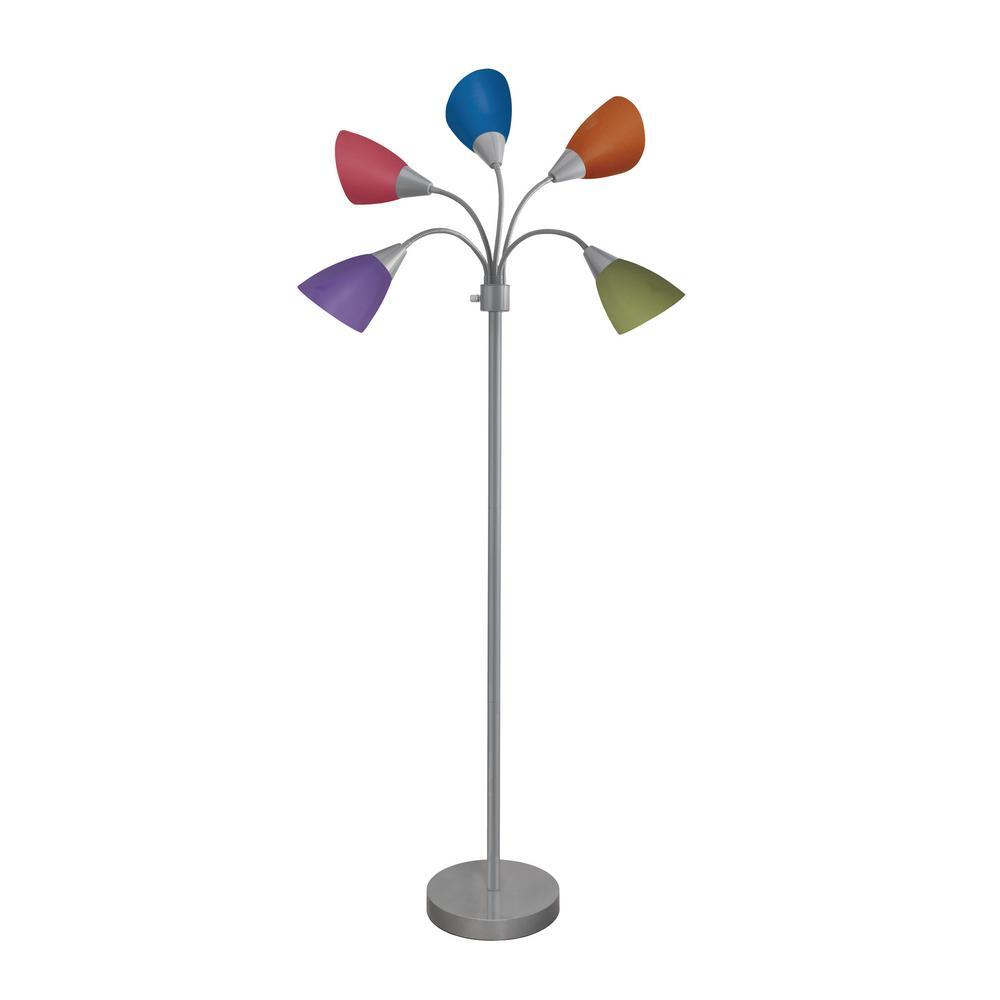 Hampton Bay 67 in. Silver 5-Arm Floor Lamp with Multi Color Shade