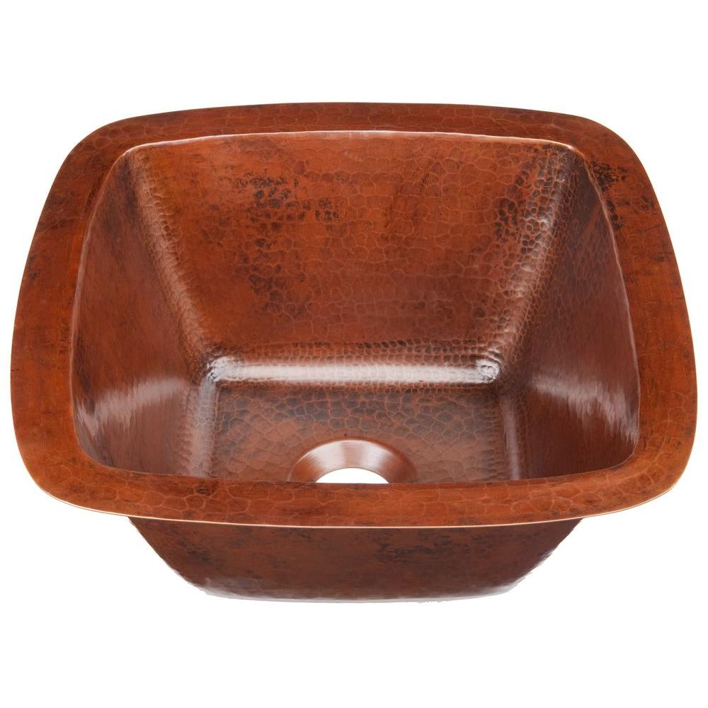 SINKOLOGY Pollock Undermount Handmade Pure Solid Copper 12 in. 0-Hole Bar Prep Sink in Aged Copper