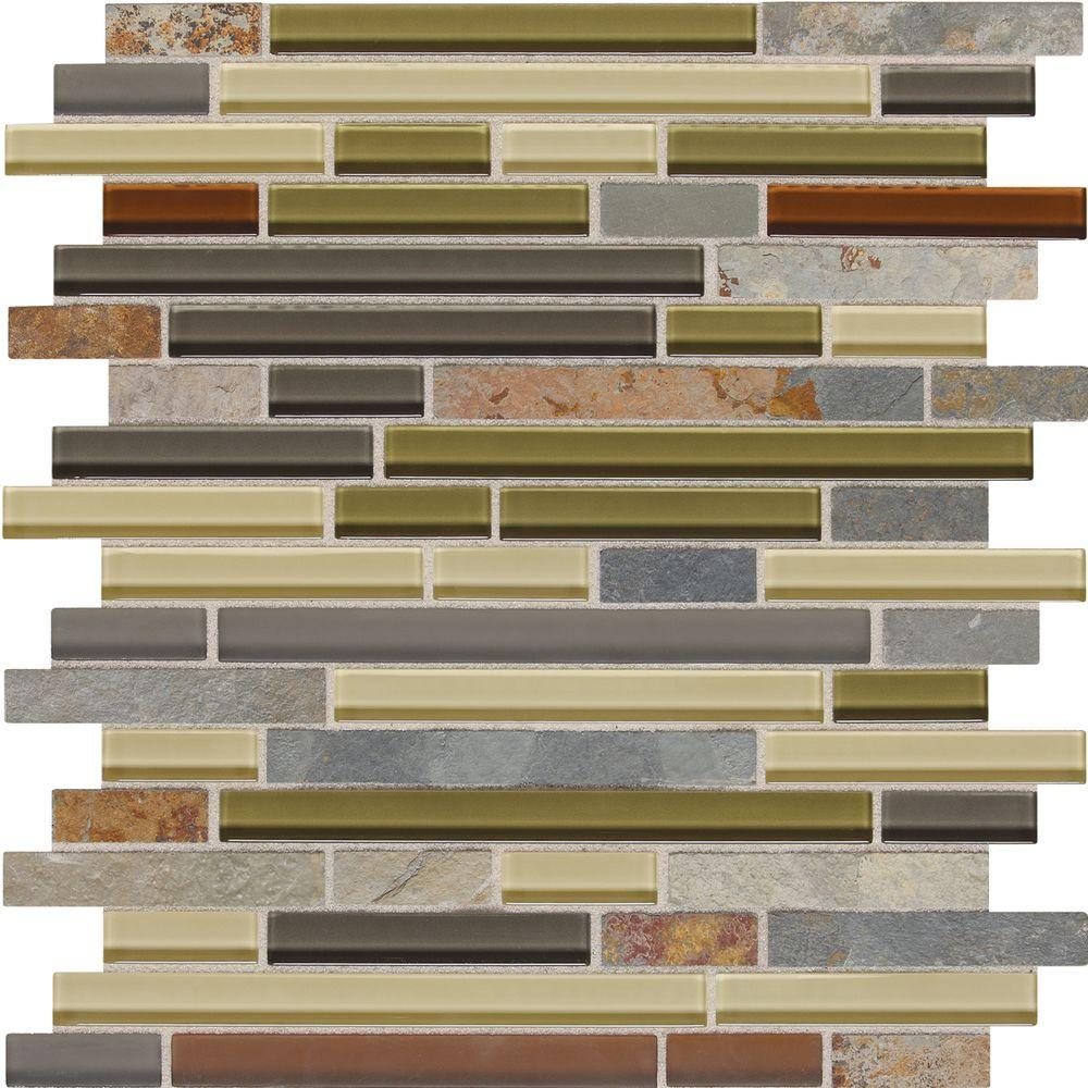 Daltile Slate Radiance Cactus 11-3/4 in. x 12-1/2 in. x 8 mm Glass and Stone Random Mosaic Blend Wall Tile (1 sq. ft. / piece)
