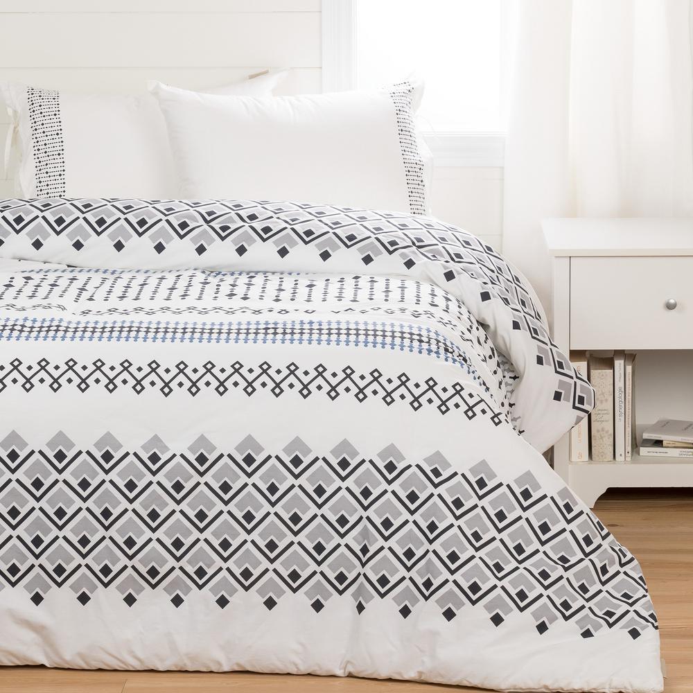 Lodge White Gray Printed Comforter and Pillow Shams