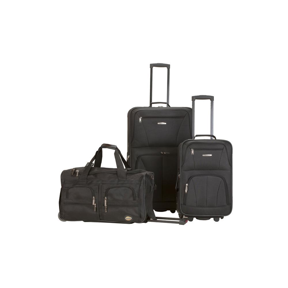 Rockland Expandable Spectra 3-Piece Softside Luggage Set, Black