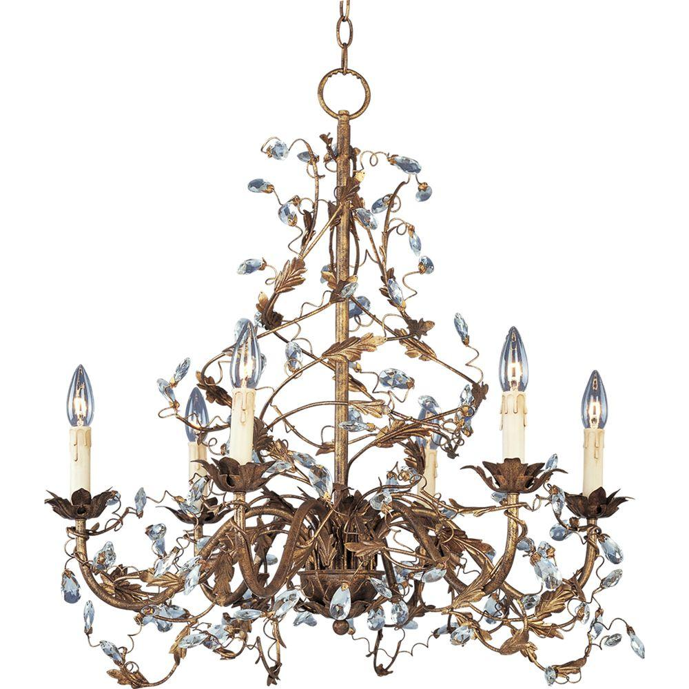 Elegante 6-Light Etruscan Gold Chandelier