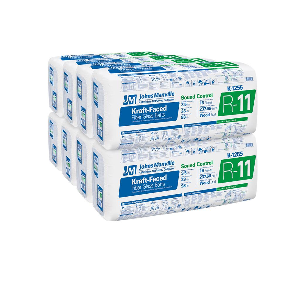 Johns Manville R-11 Kraft Faced Fiberglass Insulation Batt 23 in. x 93 in. (8-Bags)