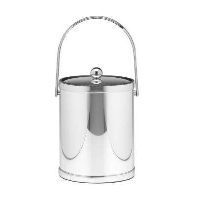 Mylar 5 Qt. Polished Chrome Ice Bucket with Track Handle and Metal Lid