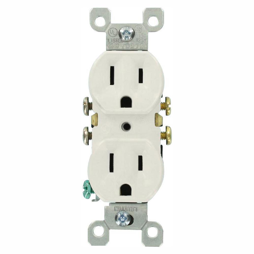15 Amp Residential Grade Grounding Duplex Outlet, White (10-Pack)