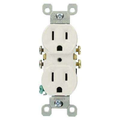 15 Amp Residential Grade Grounding Duplex Outlet, White (10-Pack)