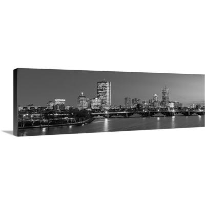 Greatbigcanvas Boston City Skyline At Night Black And White By Circle Capture Canvas Wall Art 2417959 24 36x12 The Home Depot