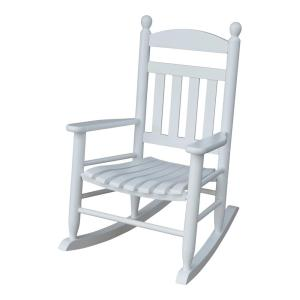 Youth Slat White Wood Outdoor Patio Rocking Chair by