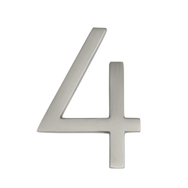 Frank Lloyd Wright Collection 4 in. Wright Satin Nickel Floating House Number 4