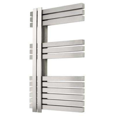 12-Bar Wall Mounted Electric Towel Warmer with Digital Timer in Stainless Steel Brushed