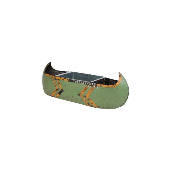 Kalalou Canoe Green and Yellow Recycled Metal Cooler or Planter with Removable Tub