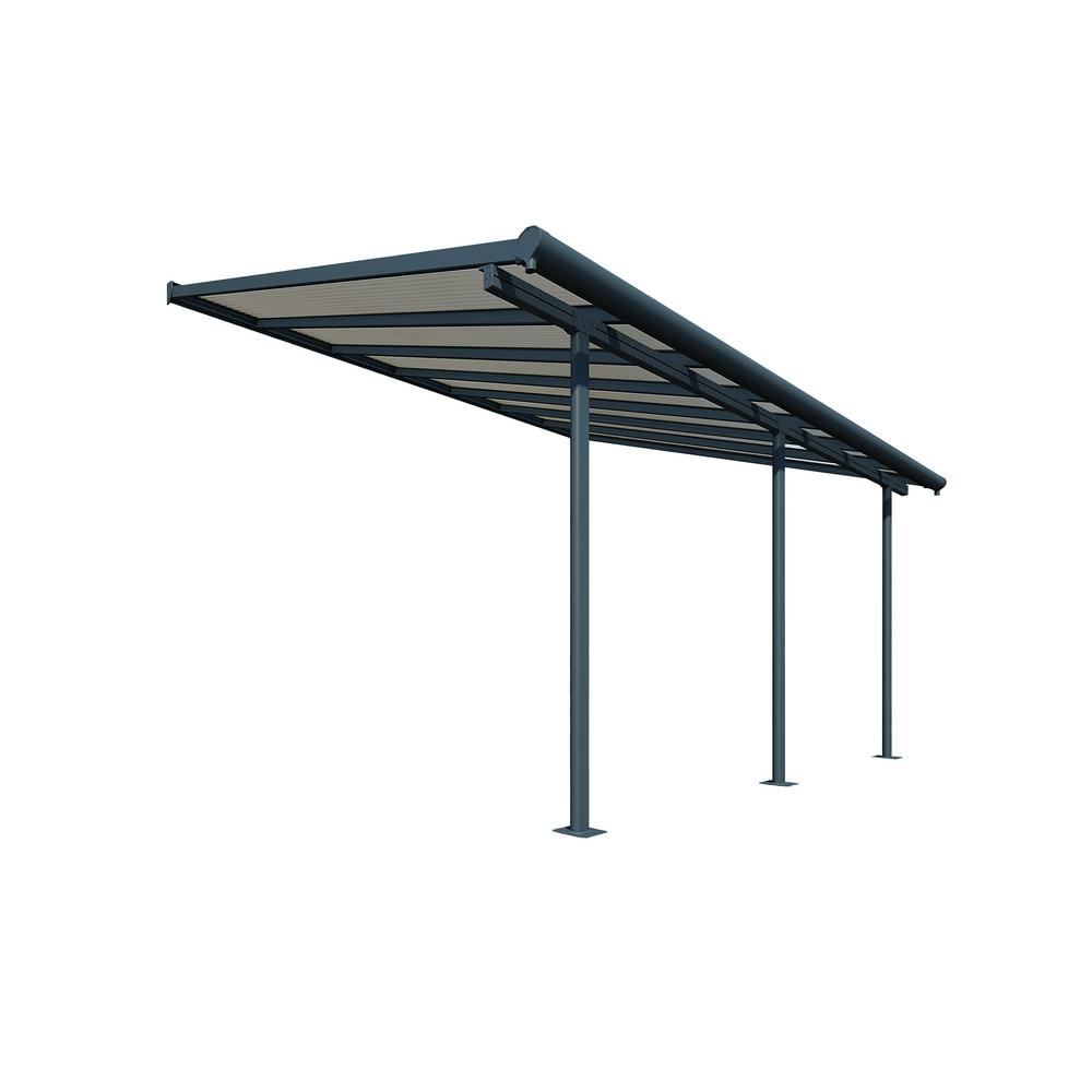 Palram Sierra 10 ft  x 14 ft  Gray/Bronze Patio Cover Awning