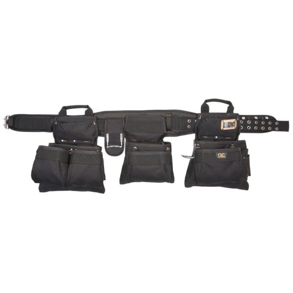 18-Pocket Carpenter's Tool Belt Combo Set Black (5-Piece)