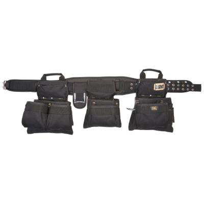 18-Pocket Carpenter's Tool Belt Combo Set Black (5-Piece)