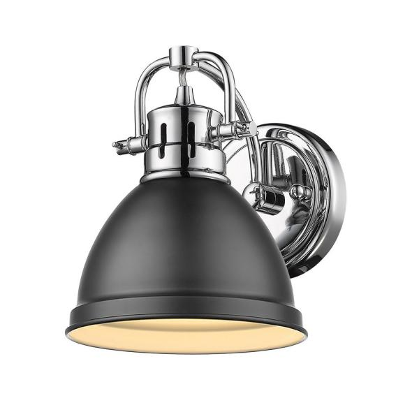 Duncan Collection Chrome 1-Light Bath Sconce Light with Matte Black Shade