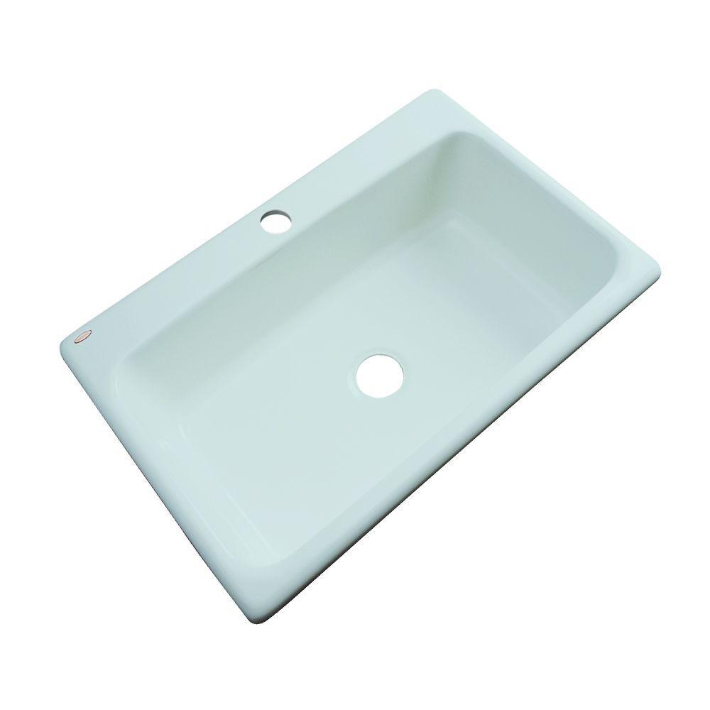 Manhattan Drop-In Acrylic 33 in. 1-Hole Single Bowl Kitchen Sink in Seafoam  Green
