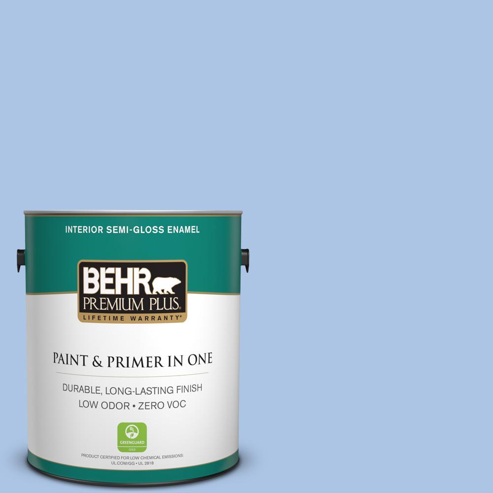 1-gal. #580B-4 Ocean Dream Zero VOC Semi-Gloss Enamel Interior Paint