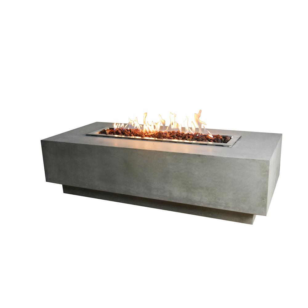 Elementi Granville 28 in. x 17 in. Rectangular Concrete Propane Fire Pit Table with Burner and Lava Rock