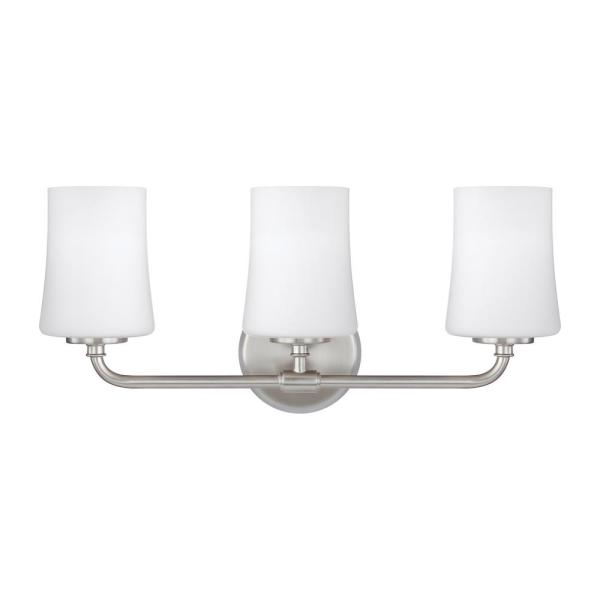 Jennie 21.25 in. 3-Light Satin Nickel Vanity Light with White Opal Etched Glass Shades