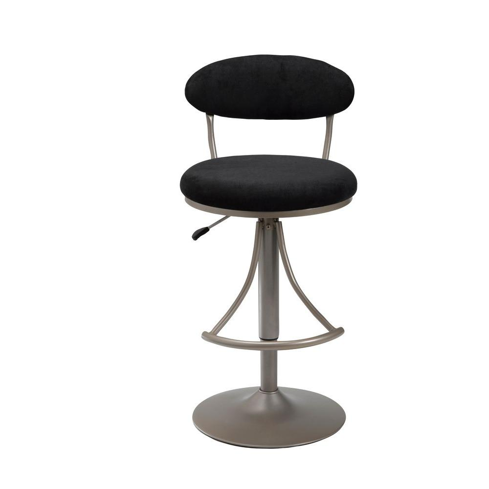 Hillsdale Furniture Venus 24-30 in. Adjustable Bar Stool in Champagne Metallic with Black Suede Seat