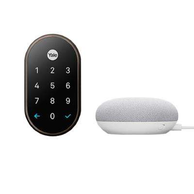 Nest x Yale Lock in Oil Rubbed Bronze with Google Home Mini Chalk