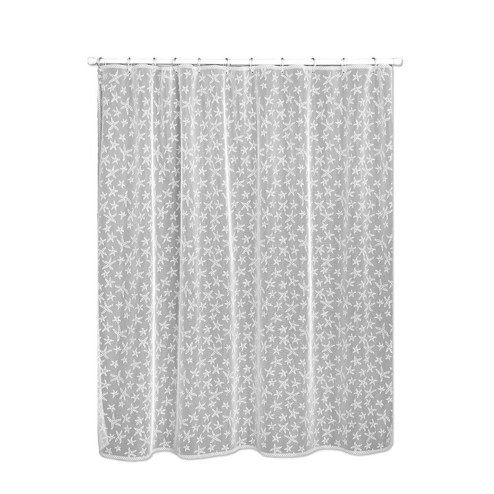 Heritage Lace Starfish 72 In White Shower Curtain 7255W OC