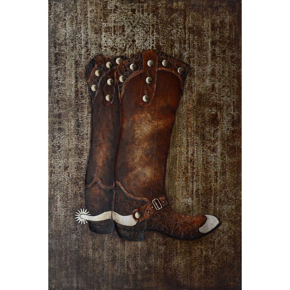 """Yosemite Home Decor 47 in. x 32 in. """"Cowboy Boots"""" Hand Painted Canvas Wall Art"""