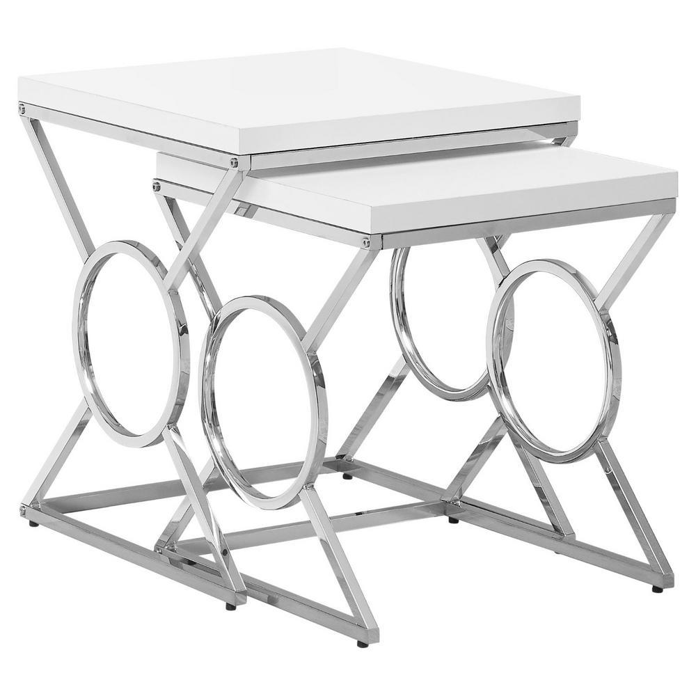 Jasmine 43 in White Metal Nesting Table Set (Set of 2)