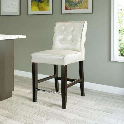 Antonio 25 in. Counter Height Cream White Bonded Leather Bar Stool