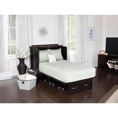 Nantucket Murphy Bed Espresso Twin Chest with Charging Station and Cool Soft Mattress