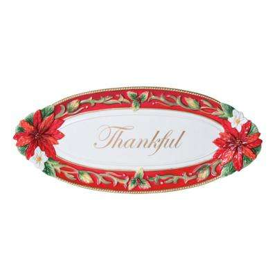 17.5 in. Cardinal Christmas Bread Tray