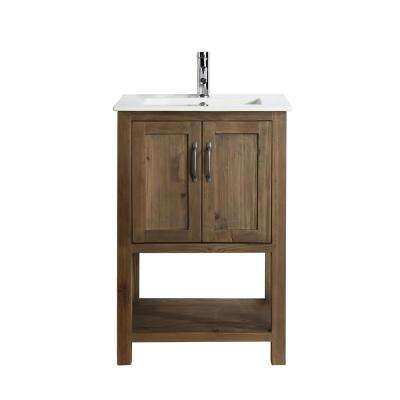 Austin 24 in. W x 19 in. D Bath Vanity in Natural with Porcelain Vanity Top in White with White Basin