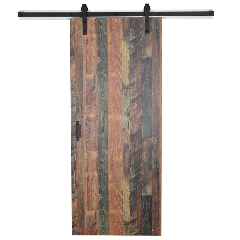 43 in. x 84 in. Antique Bourbon Pine 8215-12 Solid Core Wood Flush Barn Door with Sliding Door Hardware Kit